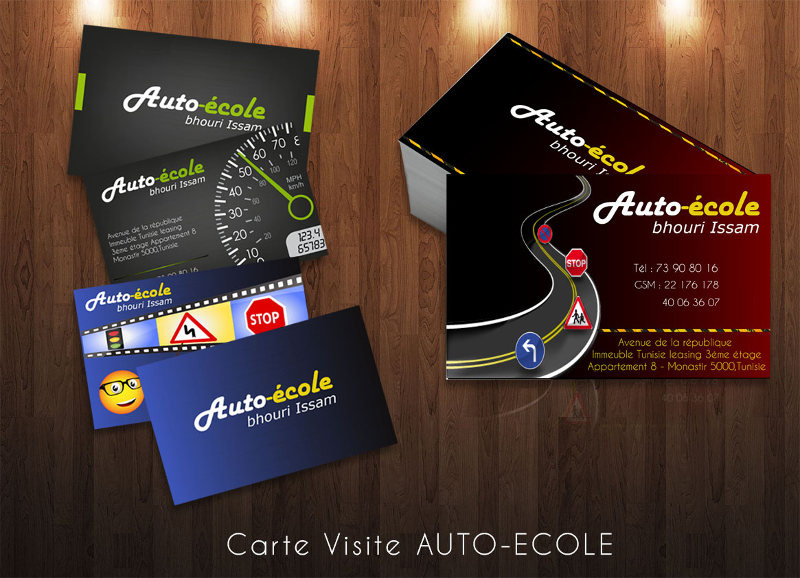carte de visite auto ecole media plus. Black Bedroom Furniture Sets. Home Design Ideas